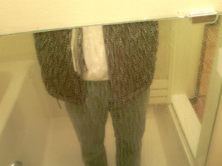 浴室鏡の汚れ