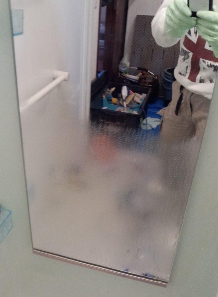お風呂の鏡の石鹸かす汚れ ハウス エアコン 分解 クリーニング 愛知 名古屋 岐阜 江南 清須 春日井 小牧 一宮 お風呂 浴室